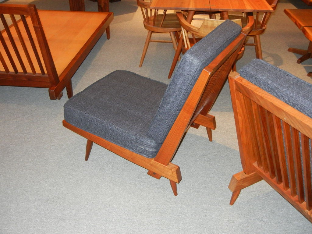 George Nakashima Spindle Back Chairs in Charcoal Silk In Excellent Condition In Los Angeles, CA
