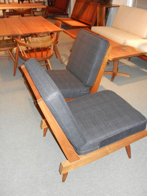 Mid-20th Century George Nakashima Spindle Back Chairs in Charcoal Silk