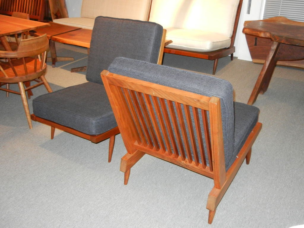 George Nakashima Spindle Back Chairs in Charcoal Silk 1