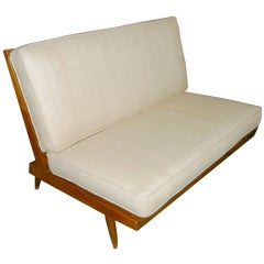 George Nakashima Spindle Back Settee in Beige Silk