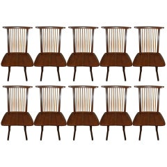 "George Nakashima ""Conoid"" Chairs-Set of 10"
