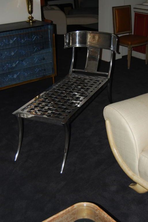 klismos chaise longue in polished aluminum at 1stdibs. Black Bedroom Furniture Sets. Home Design Ideas