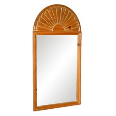Carved Pine Arched Shell Mirror