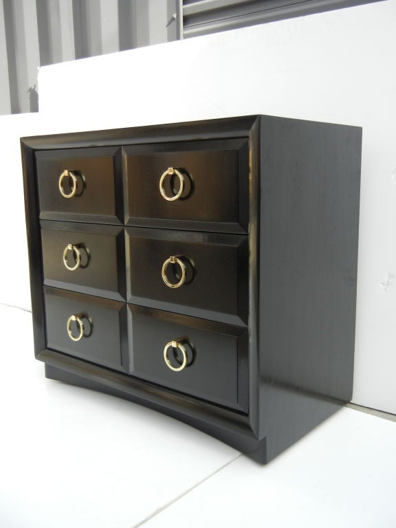 American Robsjohn-Gibbings Classic Chests with Brass Ring Pulls For Sale