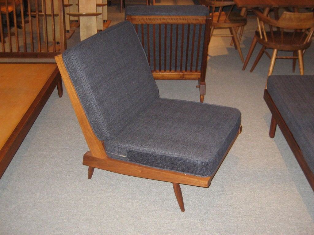 George Nakashima Armless Chairs In Charcoal Silk At 1stdibs