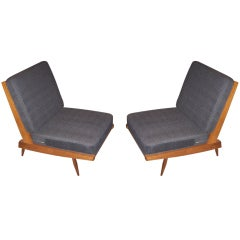 George Nakashima Armless Chairs in Charcoal Silk
