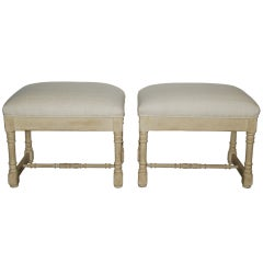 Maison Jansen Stools with Silk Tops