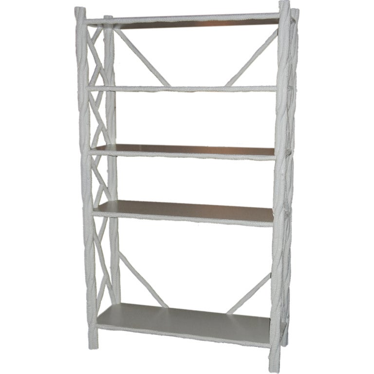 arthur elrod faux bois etagere in white lacquer for sale at 1stdibs. Black Bedroom Furniture Sets. Home Design Ideas