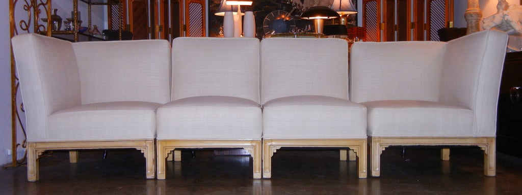 A terrific Frankl design. Restored in a bleached tussah silk.