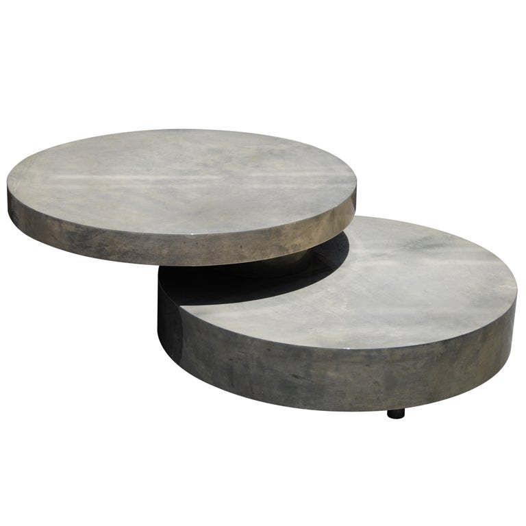 Aldo tura movable cocktail table in lacquered goatskin at for Movable coffee table
