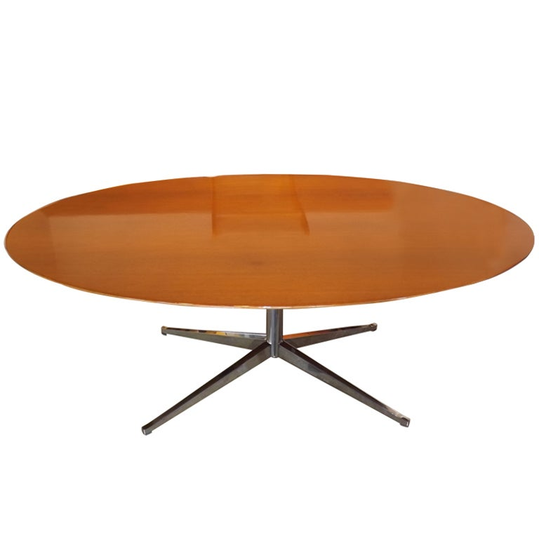 Florence Knoll Elliptical Table In Walnut At 1stdibs