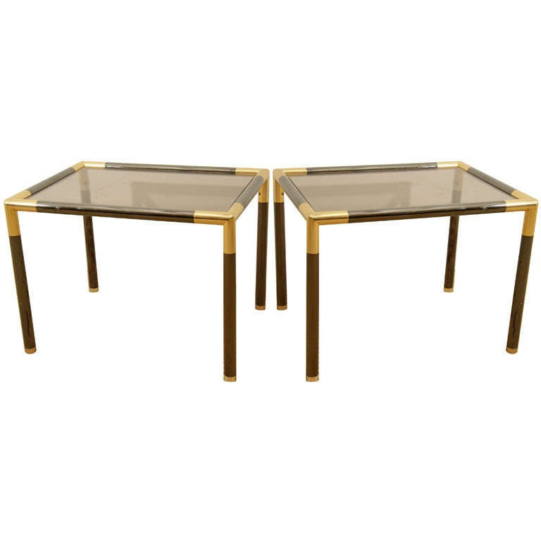 A Pair Of Small Rectangular Brass And Glass Tables At 1stdibs