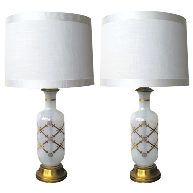 Pair of American White Opaque Gilt Glass Bottle-Form Lamps For Sale