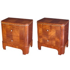 Good Pair of French Art Deco Mahogany Two-Drawer Commodes