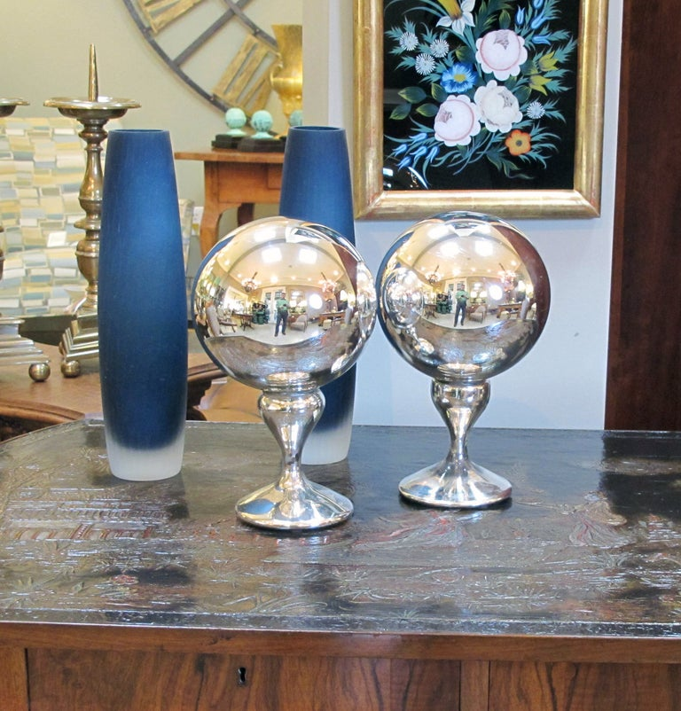 A Rare Pair Of American Mercury Glass Gazing Balls The