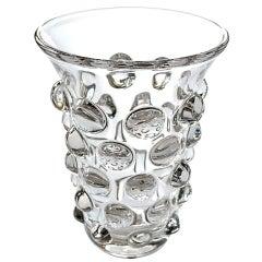 A Shimmering French 1960's Crystal Bulls-Eye Vase; by Art Vannes