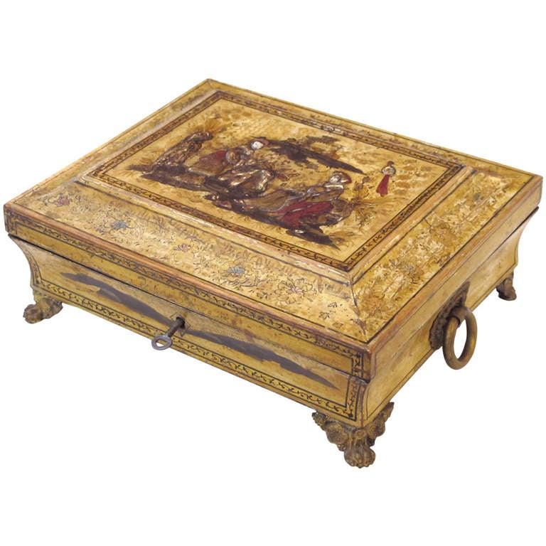 Elegant English Regency Yellow-Lacquered Chinoiserie Jewelry Box