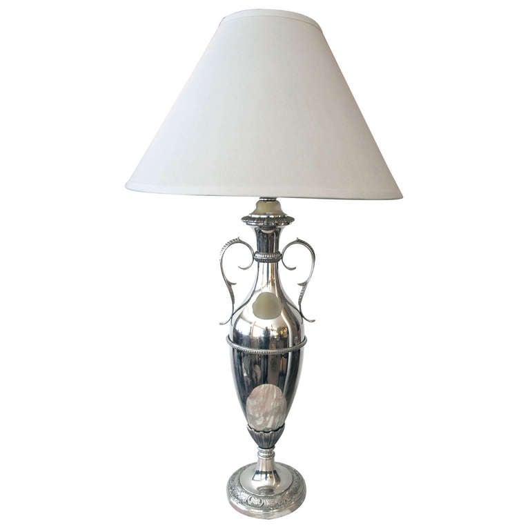 Sleek American Art Deco Nickel-Plated Urn-Form Lamp
