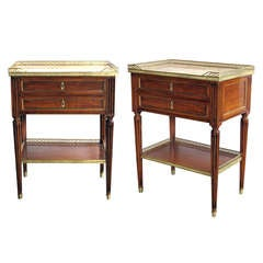 A Good-Quality Pair of French Louis XVI Style Walnut 3-Drawer Side Tables with Marble Tops