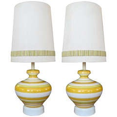 A Vibrant Pair of Italian 1960's Ovoid-Shaped Ceramic Lamps wth Bold Striping