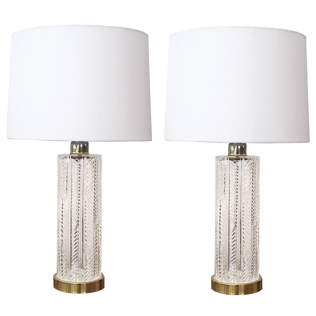 Crystal Chandelier Table Lamps For Sale: A Good Pair Of Waterford Crystal Cylindrical-Form Lamps At