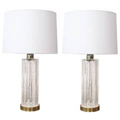 A Good Pair of Waterford Crystal Cylindrical-Form Lamps
