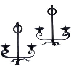 Handsome Pair of English Arts & Crafts Wrought Iron Two-Arm Tripod Candelabras