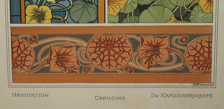 Set of Three French Art Nouveau Chromolithographs of Nasturtiums & Sunflowers 5