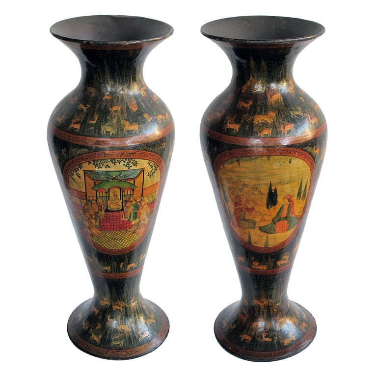 Pair Of Kashmiri Papier Mch And Lacquer Vases At 1stdibs