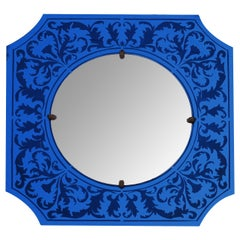Stylish American Art Deco Bull's Eye Mirror with Etched Cobalt Blue Frame