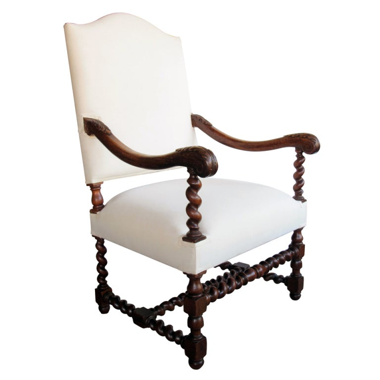 a handsome louis xiv style oak fauteuil at 1stdibs