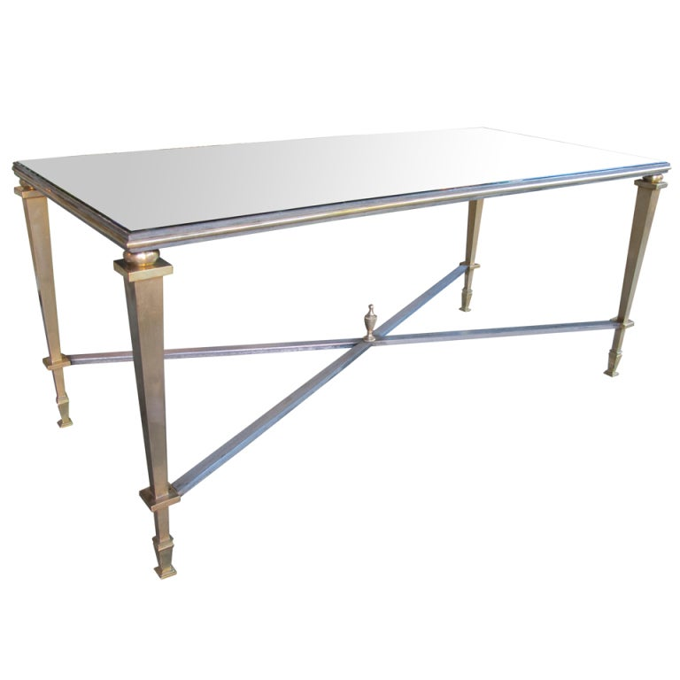 A French Bronze And Iron Rectangular Cocktail Table W Mirrored Top By Bagues At 1stdibs