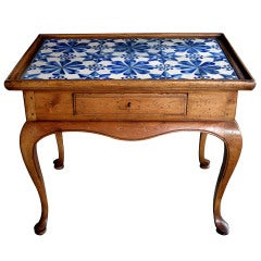 A Shapely Danish Rococo Style Stripped Pine Side Table w/Delft Tile Top