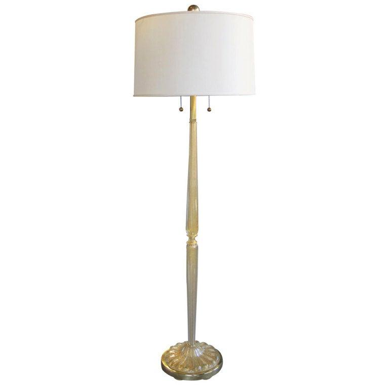 A Murano Gold Aventurine Art Glass Floor Lamp By Marbro