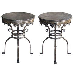 A Good Quality Pair of Continental Wrought Iron Circular Side Tables; in the Style of Samuel Yellin