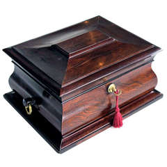 A Handsome and Well-Made English Regency Rosewood Bombe-Form Jewelry Box