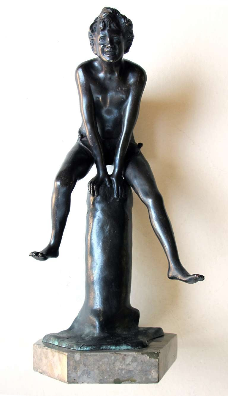 19th Century An Italian Grand Tour Bronze Figure of a Young Male Athlete; Signed 'Gerente' For Sale