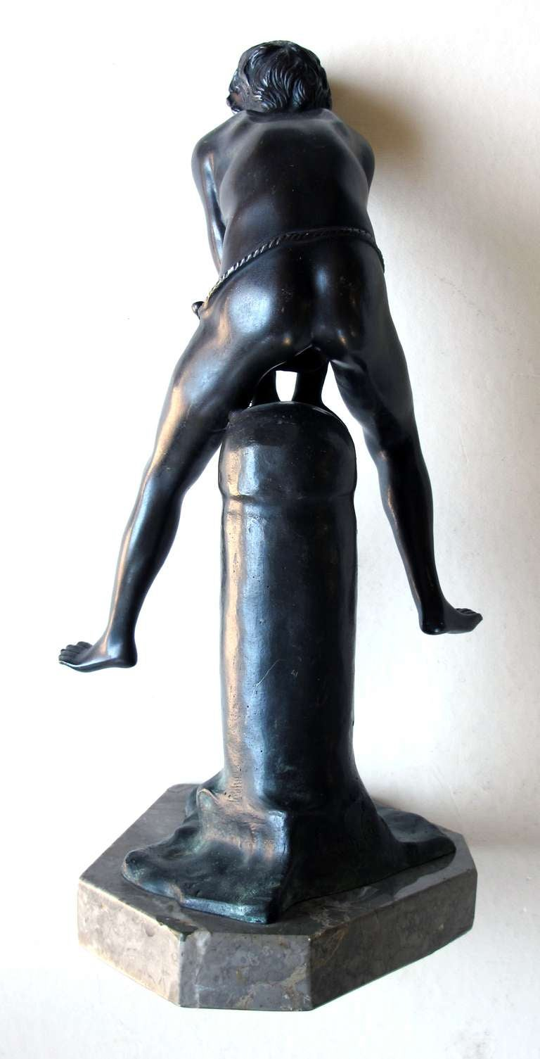 An Italian Grand Tour Bronze Figure of a Young Male Athlete; Signed 'Gerente' For Sale 2