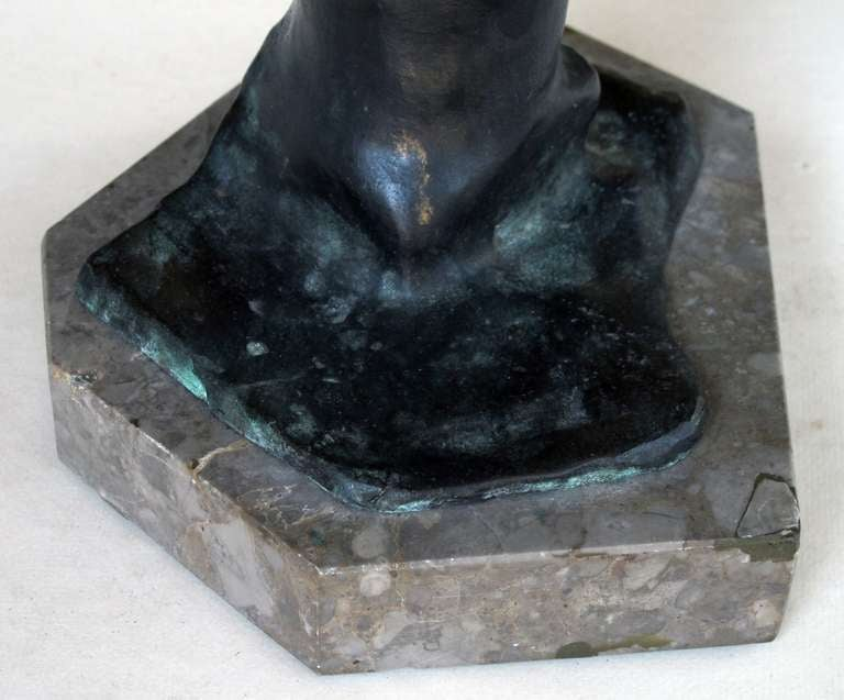 An Italian Grand Tour Bronze Figure of a Young Male Athlete; Signed 'Gerente' In Good Condition For Sale In San Francisco, CA