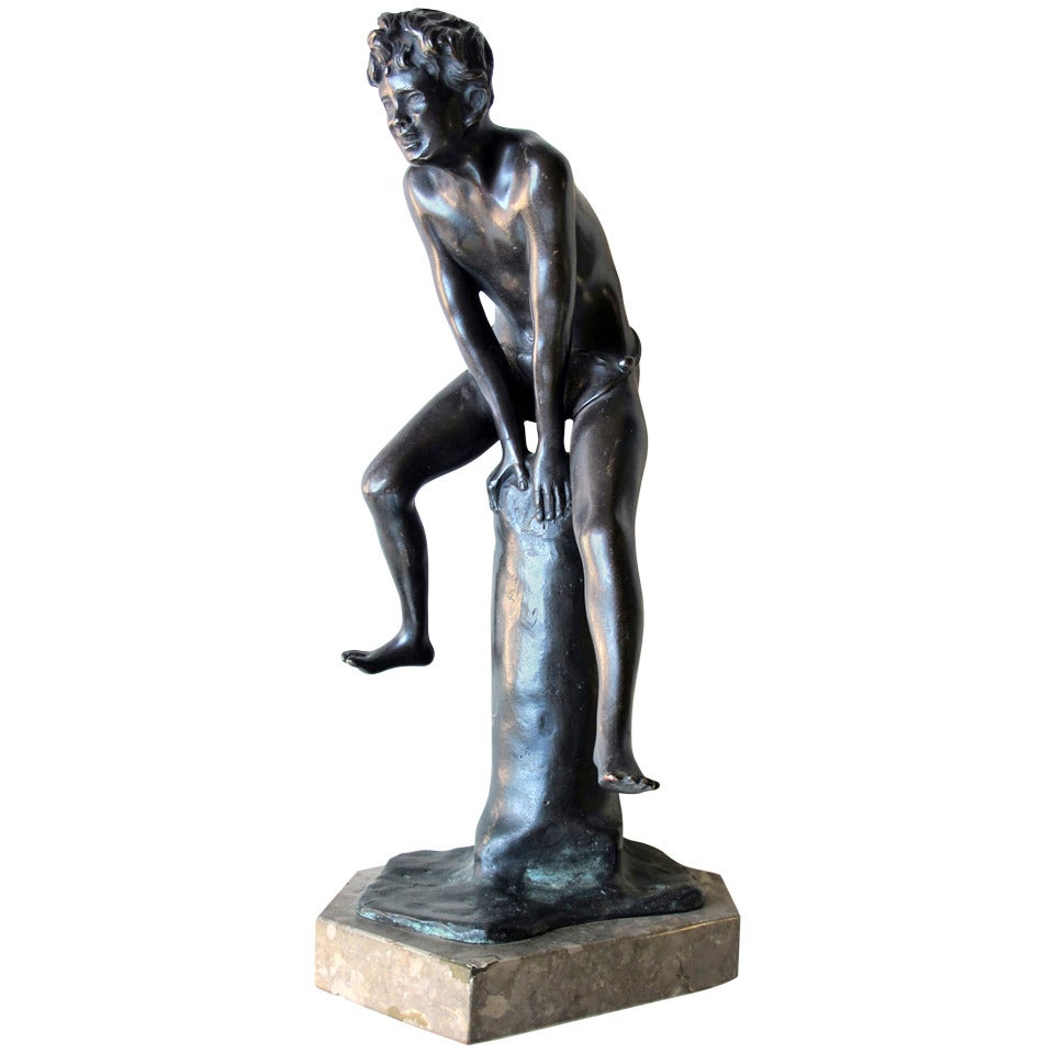 An Italian Grand Tour Bronze Figure of a Young Male Athlete; Signed 'Gerente'