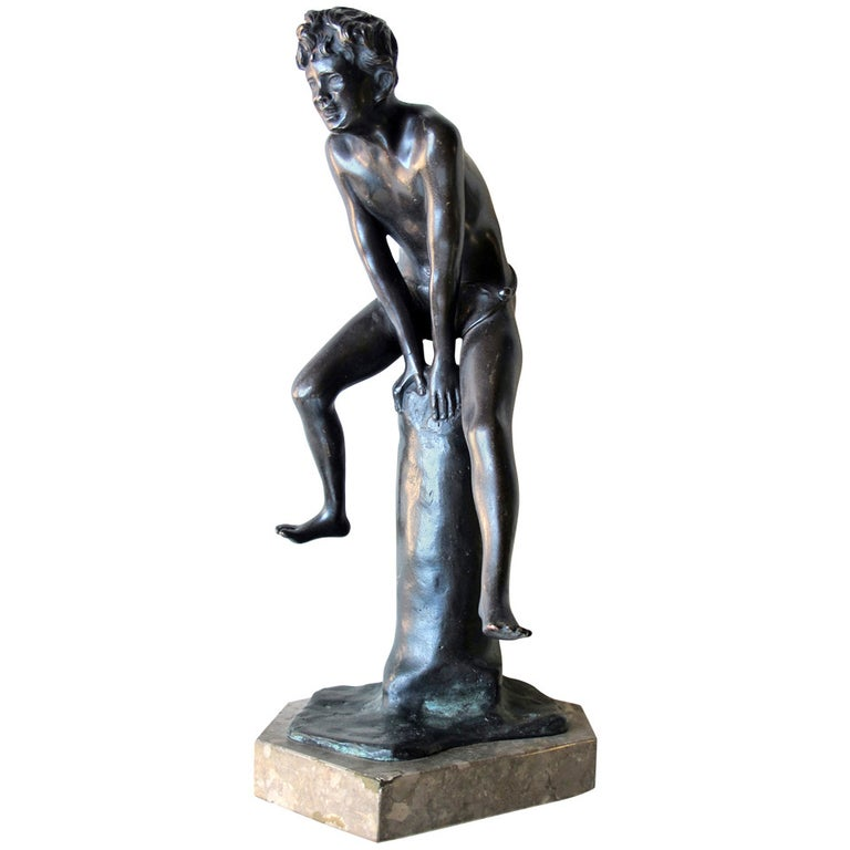 An Italian Grand Tour Bronze Figure of a Young Male Athlete; Signed 'Gerente' For Sale