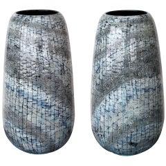 An Unusually Large Pair of Italian Mid-Century Ceramic Vases by Otello Rosa