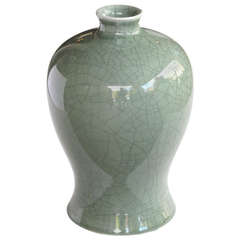 Elegantly-Shaped Chinese Celadon Crackle-Glazed Mei Ping 'Plum' Vase