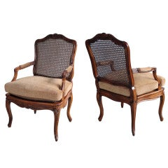 Elegant Pair of French Rococo Beechwood Open Arm Chairs with Caned Seat and Back