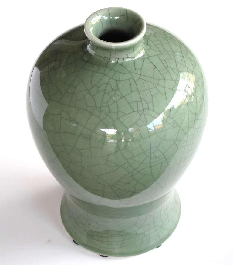 Elegantly Shaped Chinese Celadon Crackle Glazed Mei Ping Plum Vase