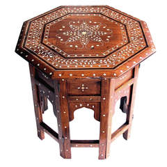 A Finely Decorated Anglo-Indian Octagonal Traveling Table with Bone and Ebony Inlay
