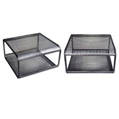 A Unique Pair of French 1960's Industrial Steel Mesh Tables or Benches