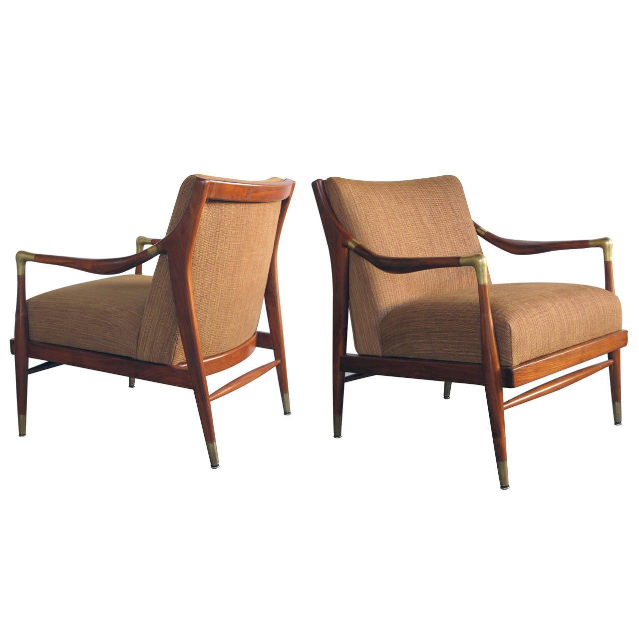 This sculptural pair of lounge chairs by ib kofod larsen is no longer - Pair Of Danish Modern 1960s Brass Accented Lounge Chairs Ib Kofod Larsen 1