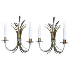 Pair of French Nickel, Brass and Bronze Sconces of Tied Cattails, Maison Charles