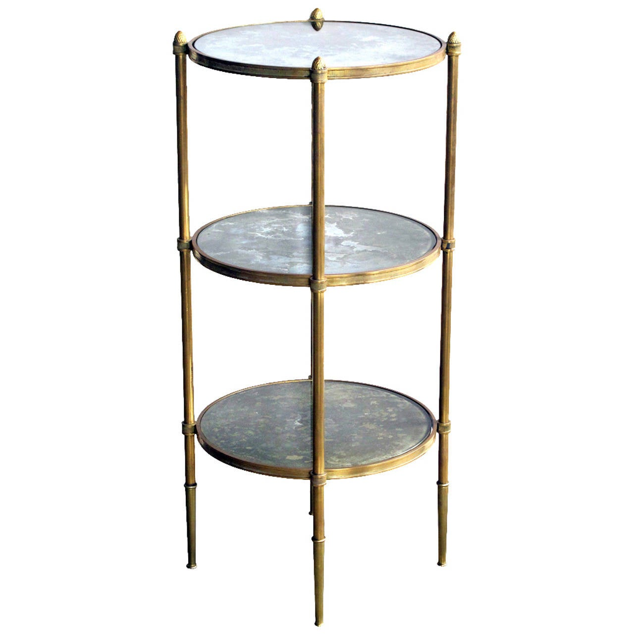 Brass Three Tier Circular Side Table With Mirrored Shelves By Maison Bagues  1